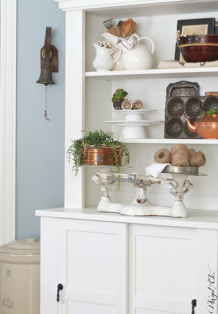 Farmhouse cabinet styled with vintage goodies | Vin'yet Etc.