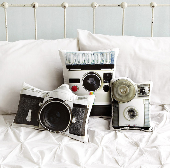 Vintage Camera Pillows - Uncommomgoods-Vinyet ETC - giveaway
