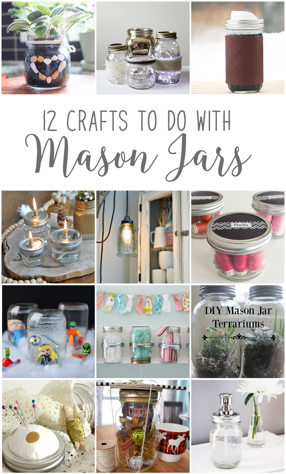 12MonthsofDIY January Mason Jar DIY Craft Ideas DIY Farmhouse light with a