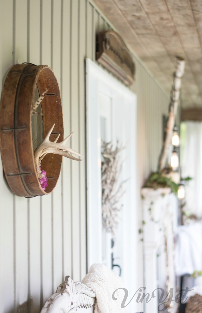 Decorating the fall porch with vintage items