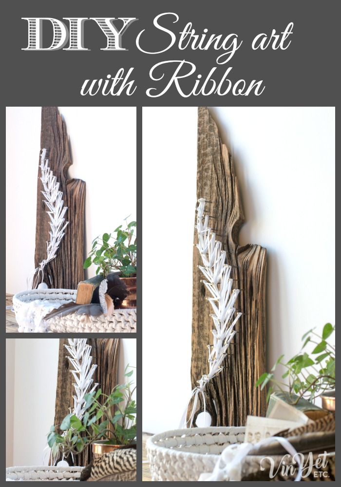 DIY String art using ribbon - Ribbon string art on rustic barnboard