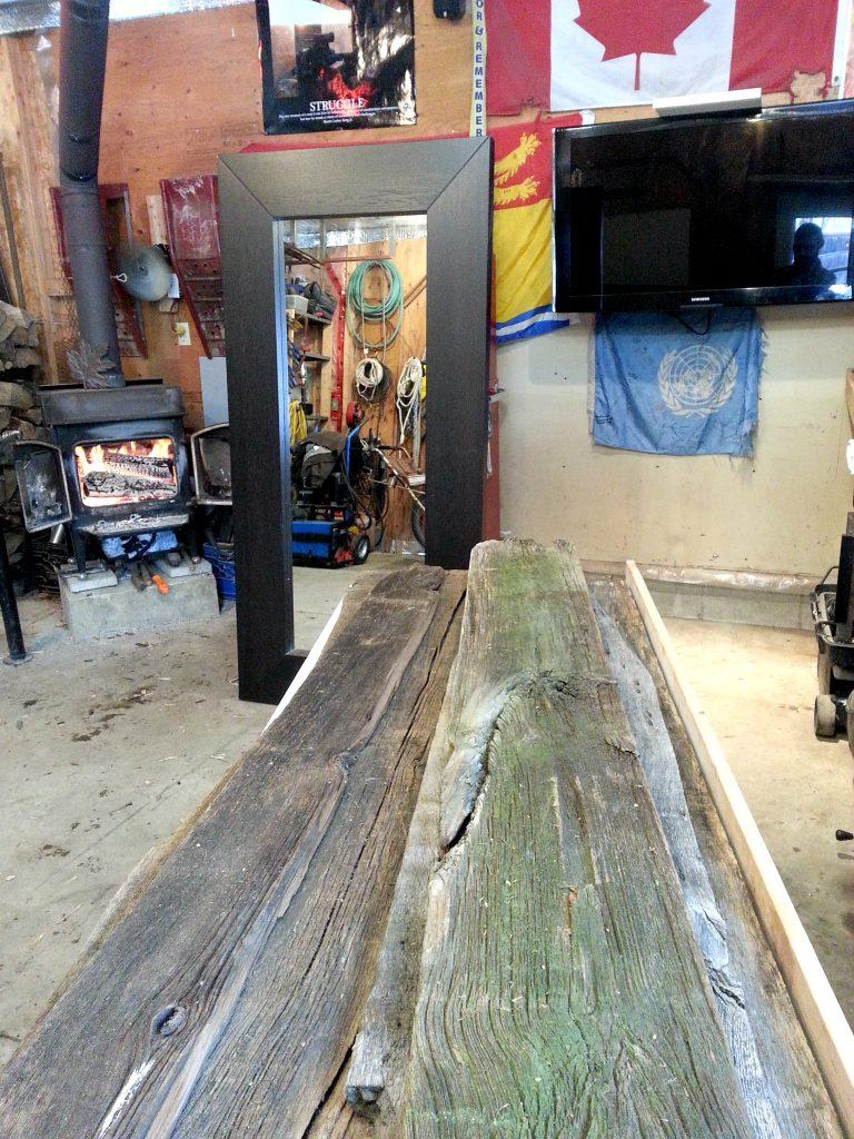 DIY barn board Mirror- Ikea hack - wood before