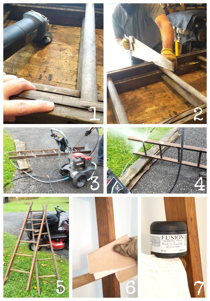 How-To modify a vintage ladder - Vinyet Etc