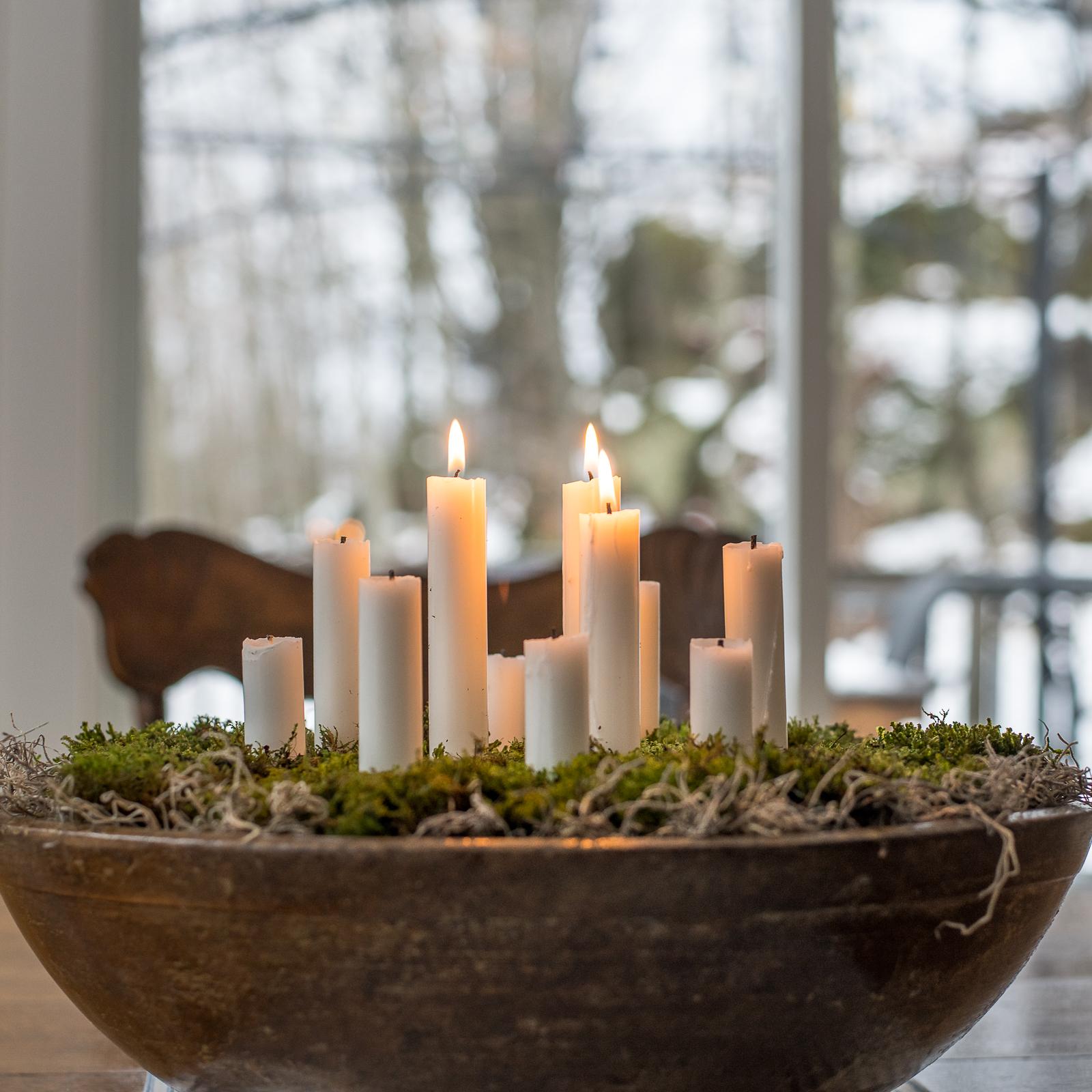 Scandinavian Inspired Candleholder With Moss Cozy Living Vin Yet Etc